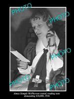 OLD LARGE HISTORIC PHOTO OF AMERICAN EVANGELIST AMIEE SEMPLE McPHERSON c1936