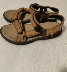 TEVA Pretty Rugged Ankle Strap Hiking Trail Sandals Camel Tan Brown Leather, 6