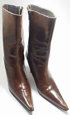 Efe Sz 8.5 calf high boots brown patent leather spike heel pointed toe