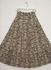 4 Tiered SNAKE Print Blk Gray Ivory Hippie Peasant RAYON Broomstick Skirt M/L