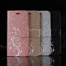 Magnetic Leather Glitter Flip Bling Wallet Cover Case For Huawei P8 P9 P10 lite