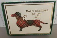 Dachshund Box of 15 Holiday Christmas Cards Tartan Plaid Embellished Glitter