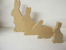 "Wooden Rabbit Family ""set of 4"" Freestanding 18mm thick Quality"