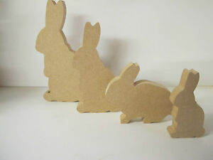 """Wooden Rabbit Family """"set of 4"""" Freestanding 18mm thick Quality"""