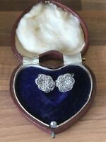 Lovely Vintage Marked Sterling Silver & Marcasite Flowers Clip Ons Earrings 5.3g