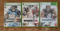 Lot Of 3 NFL XBOX 360 Live Madden 08 10 12