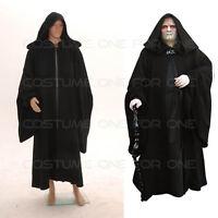 Details about  /Grim Reaper Hooded Robe Cloak Costume Star Wars Jedi Black Tunic Monk Priest