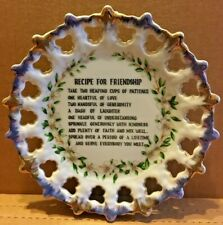 """Vintage """"Recipe For Friendship"""" China Plate for Hanging 7"""" Scalloped Design"""