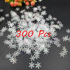 300Pcs Classic Shiny Snowflake Ornaments Christmas Tree Party Home Decor