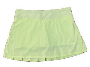 Lululemon Run Pace Setter Skirt polka dot Petit Dot Faded Zap  green sz 8 EUC