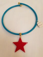 Vintage CORO Plastic Choker Necklace Blue Red Star White w/Tags