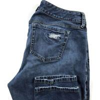 Torrid Womens 12 Boyfriend Dark Wash Blue Stretch Distressed Slim Jeans