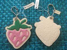 Coach Leather GLITTER Strawberry Key Fob Chain 26898 Bag Charm $45 Pink Green