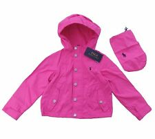 RALPH LAUREN girls pink windbreaker HOODED JACKET 12/13Y water resistant BNWT