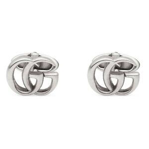 New Original Gucci Men's Sterling Silver GG Marmont Cufflinks YBE57729900100U