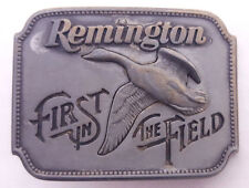 Vtg Remington Pewter Belt Buckle-First in the Field-Canada Goose-1980-Made USA..