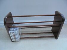 Vintage retro wooden double book trough, mid century 1960s, spindles, wall mount