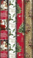 20M Christmas Gift Wrapping Paper Xmas Traditional Santa reindeer Design Rolls