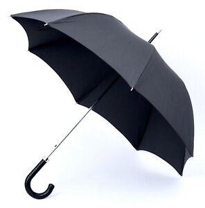 New BRIONI Italy Black Houndstooth Water Repellent Classic Telescoping Umbrella