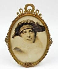 """ANTIQUE FRENCH PHOTO FRAME, 6"""" EASEL TYPE STAND, WREATH WITH ACANTHUS TOP"""