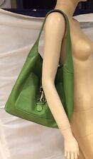 DOONEY & BOURKE Green Pebbled Leather 'Logo Lock' Hobo Shoulder Bag Tote Purse
