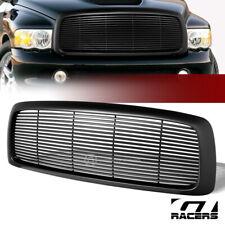 Matte Black For 2002-2005 Dodge Ram Horizontal Billet Front Bumper Grill Grille