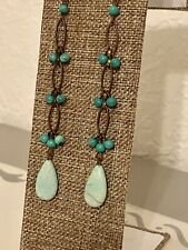 Women's Long Turquoise Bead & Stone Earrings Hippie Boho Chic Jewelry