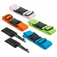 4-Pack Luggage Straps Suitcase Belt and Tag, Travel Bag Accessories, 4 Colors