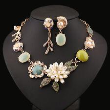 luxury multi color rhinestone faux pearl fashion necklace mismatch earrings set