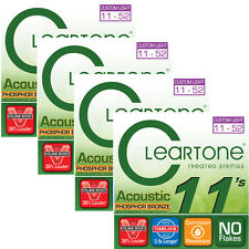 4 Sets of Cleartone 7411 Coated Acoustic Strings, Phosphor Bronze (11-52)