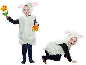 Schäfchen Kostüm Unisex Kinder Karneval Lämmchen Bauernhof Tierkostüm Schaf Lamm