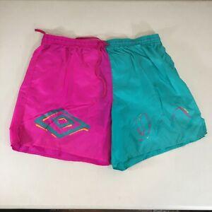 Vintage Umbro Shorts Mens Large Neon Colorblock 80s Soccer Hot Pink Teal Split