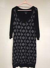 Attention Black Gray Silver Metallic Dress Stretch Women's L 12-14