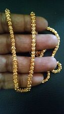 """South Indian 24"""" Long Gold Plated Floral Chain Thick Wedding Necklace Jewelry"""