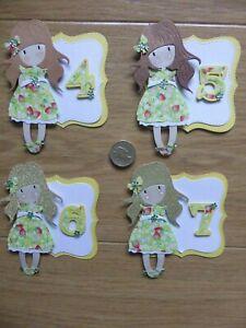 4 cute Little Girls 4 5 6  & 7th cute strawberry handmade Birthday Card Toppers
