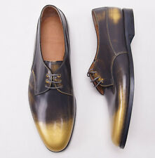 New $895 SUTOR MANTELLASSI Gold-Charcoal Gray Patent Leather Dress Shoes US 9 D