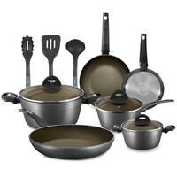 Nutrichef NCCW12S 12-Piece Nonstick Kitchen Cookware Set, Pots & Pans, Aluminum