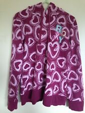 Ladies Roxy Pink Graphic Heart Design/Pattern Hoodie Size L Petite