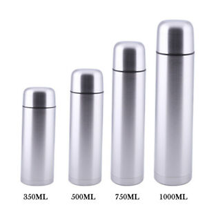 NEW STAINLESS STEEL BULLET VACUUM FLASK HOT&COLD - 350/500/750/1000ML UK