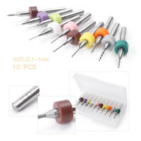 10PCS 0.1mm-1.0mm PCB CNC Print Circuit Board Carbide Micro Drill Bit Set Tool