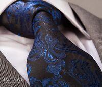 BLACK/COBALT BLUE PAISLEY SILK TIE & HANKY - ITALIAN DESIGNER Milano Exclusive