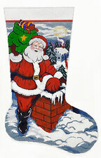 NEEDLEPOINT HANDPAINTED Canvas LEE Christmas Stocking SANTA On the Rooftop