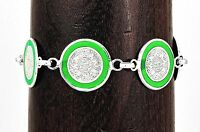 """9"""" Silver and Green Aztec Calendar Bracelet Jewelry Taxco Mexico"""