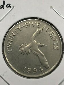 1994 Bermuda 25 Cent Foreign Coin #0656