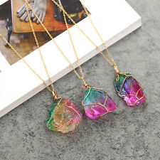 Rainbow Stone Gold Plated Natural Crystal Chakra Rock Necklace Quartz Pendant