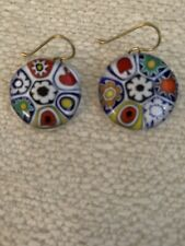 Vintage Micro Mosaic Floral Glass Dangle Earrings ITALY Handmade Classic Preppy