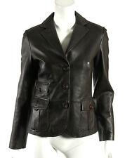 MAX MARA WEEKEND Dark Brown Leather Button Front Blazer Jacket 38