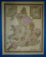 1849 S A Mitchell New Universal Atlas Map ~ ENGLAND ~ Old Authentic