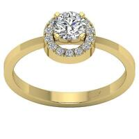 Halo Solitaire Engagement Ring Natural Round Diamond SI1 G 0.80Ct 14K White Gold