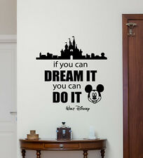 Disney Quote Wall Decal Mickey Mouse Castle Vinyl Sticker Nursery Decor 215crt